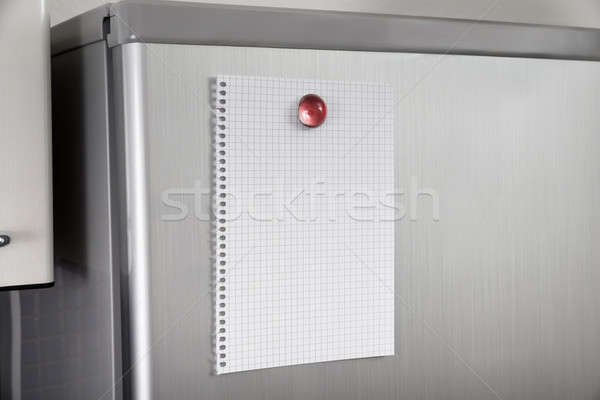 Blank Paper On Refrigerator Door Stock photo © AndreyPopov