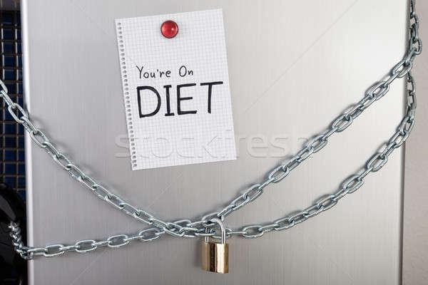 Jegyzet diéta szöveg zárolt hűtőszekrény mágnes Stock fotó © AndreyPopov