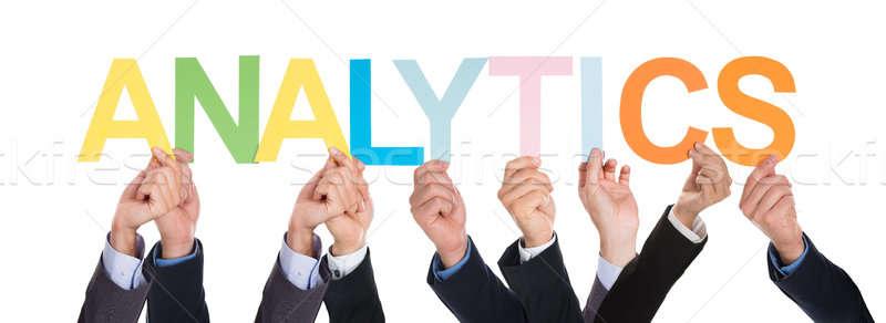 группа рук слово аналитика красочный Сток-фото © AndreyPopov