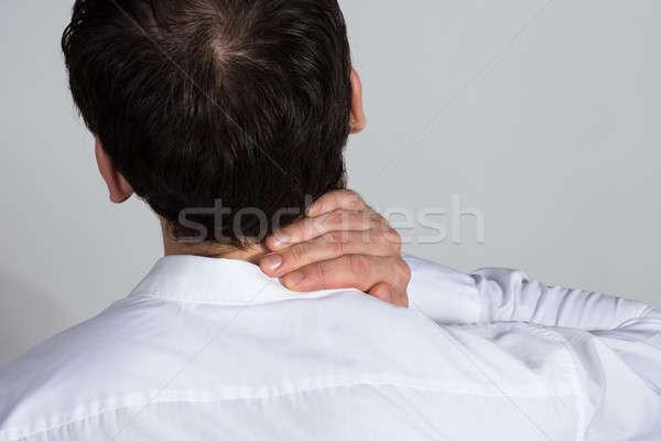 Foto stock: Empresário · sofrimento · pescoço · dor · branco