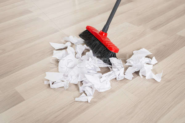Broom With Torn White Papers Stock photo © AndreyPopov