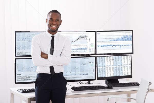 Porträt jungen Aktienmarkt Broker glücklich männlich Stock foto © AndreyPopov