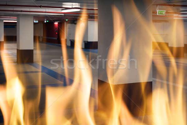 Podziemnych parking Fotografia ognia budynku bezpieczeństwa Zdjęcia stock © AndreyPopov