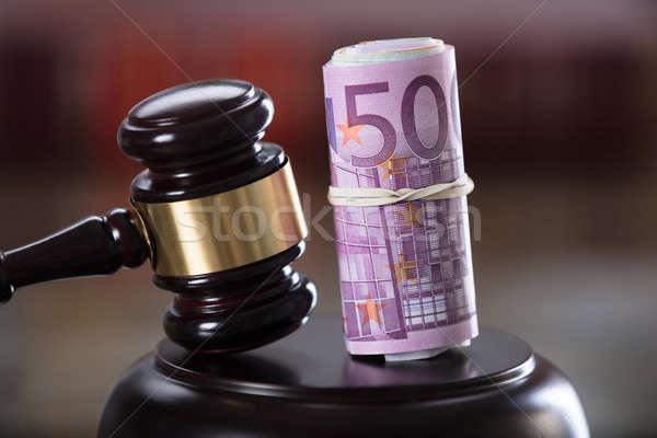 Hamer bankbiljet tabel justitie Stockfoto © AndreyPopov