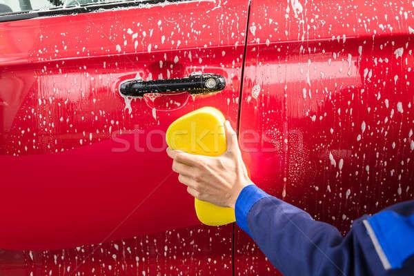 рабочие стороны стиральные красный автомобилей желтый Сток-фото © AndreyPopov