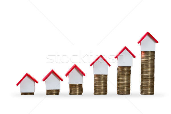 House Models On Top Of Increasing Stacked Coins Stock photo © AndreyPopov