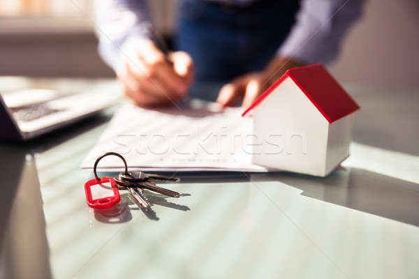 Close-up Of House Model And Key Stock photo © AndreyPopov