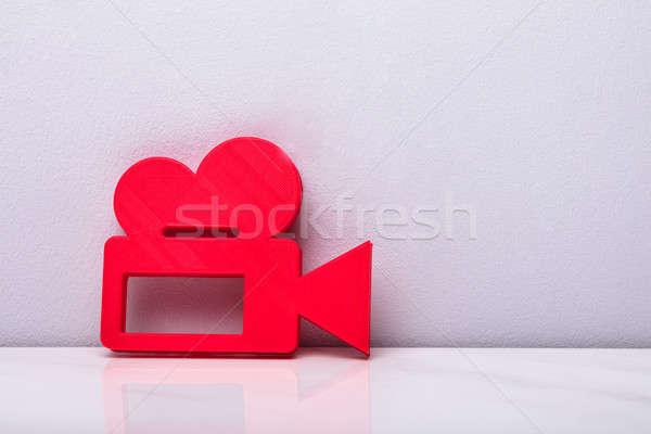 3D piros videókamera ikon felirat fehér Stock fotó © AndreyPopov