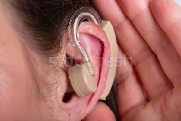 Nő hallókészülék közelkép fül orvosi egészség Stock fotó © AndreyPopov
