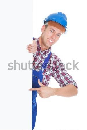 Stock fotó: Női · építész · tart · plakát · portré · boldog