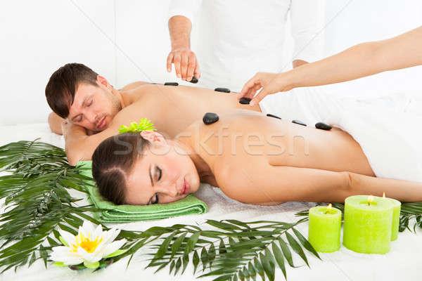 çift sıcak taş masaj rahatlatıcı spa Stok fotoğraf © AndreyPopov