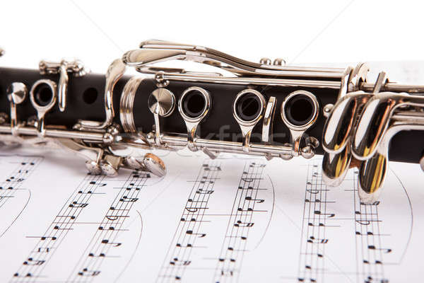 Close-up Of Clarinet And Musical Notes Stock photo © AndreyPopov