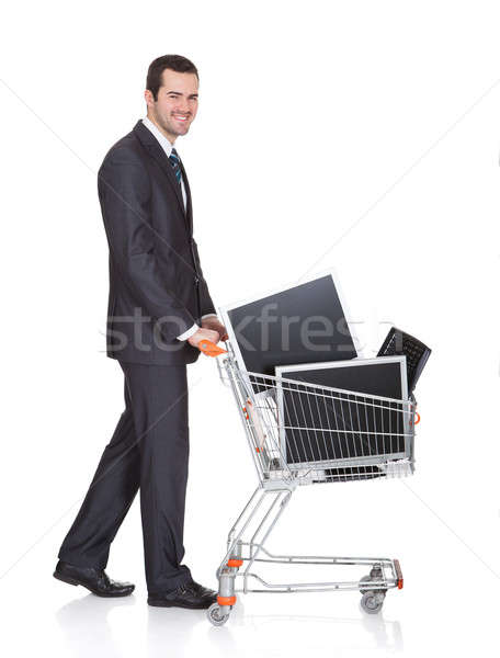 Cheerful Businessman Shopping Lcd Monitors Stock photo © AndreyPopov
