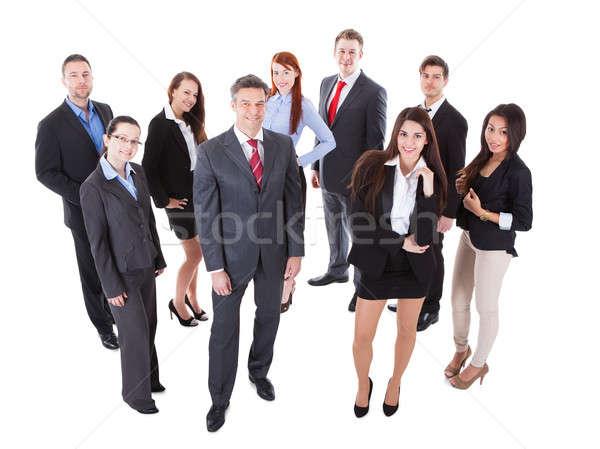 Stock fotó: Idős · üzlet · menedzser · áll · elöl · csapat