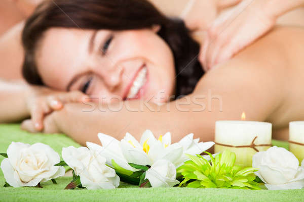 Stock photo: Woman Receiving Shoulder Massage At Beauty Spa