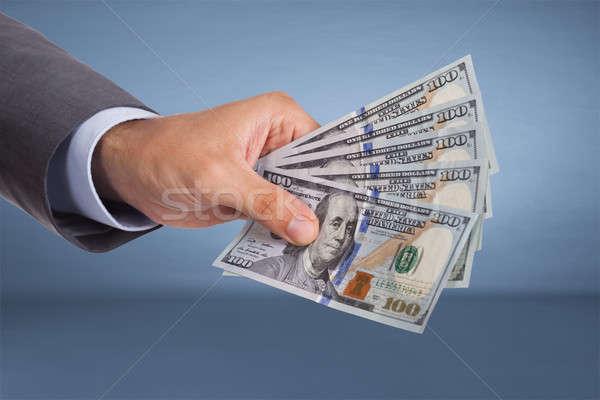 Stockfoto: Hand · papiergeld · Blauw · geld · handen
