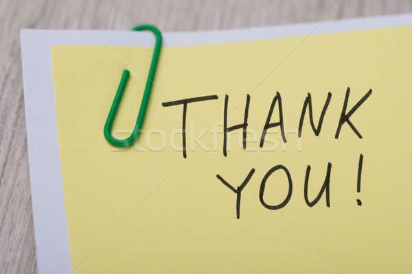 Thank You ! Written On Yellow Note Stock photo © AndreyPopov
