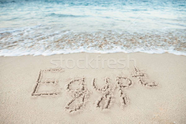 Egypt Written On Sand By Sea Stock photo © AndreyPopov