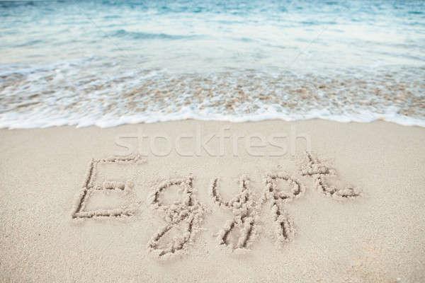 Egyiptom írott homok tenger tengerpart nyár Stock fotó © AndreyPopov