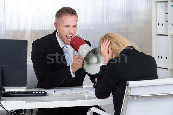 Patron femme d'affaires haut-parleur bureau bureau Photo stock © AndreyPopov