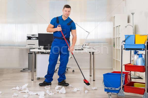 очистки полу метлой служба Сток-фото © AndreyPopov