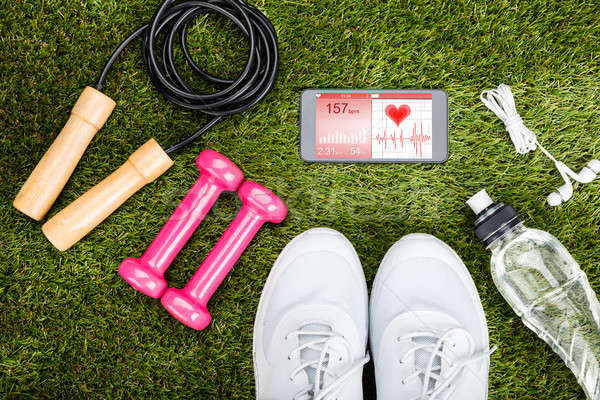 Exercise Equipment On Grassy Field Stock photo © AndreyPopov