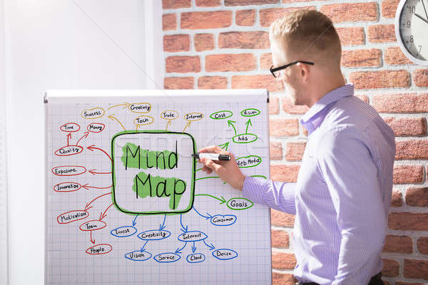 Businessman Drawing Mind Map Concept Stock photo © AndreyPopov