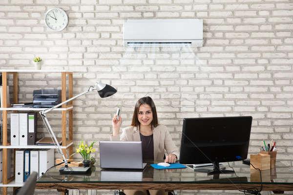 Femme d'affaires climatiseur jeunes distant femme bureau Photo stock © AndreyPopov