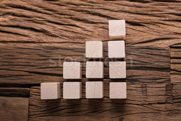 Increasing Bar Graph Blocks On Wood Stock photo © AndreyPopov