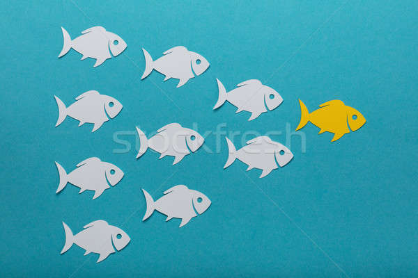 Stock photo: Concept Of White Fishes Following Yellow Fish