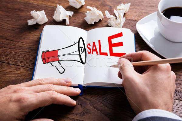Pessoa desenho megafone venda texto livro Foto stock © AndreyPopov