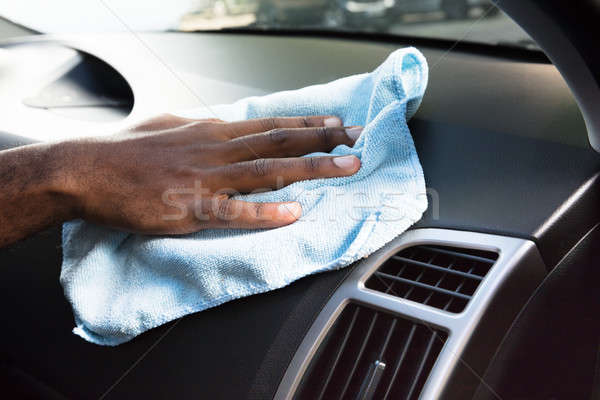 Hands Cleaning Car Interior With Blue Cloth Stock photo © AndreyPopov