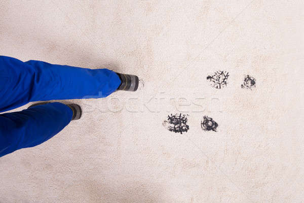 Elevated View Of Muddy Footprint On Carpet Stock photo © AndreyPopov