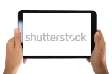 Person's Hand Holding Digital Tablet With Blank Screen Stock photo © AndreyPopov