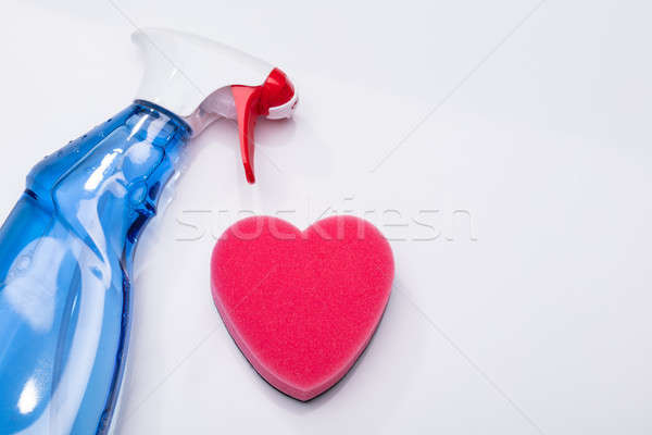 Heart Shape Sponge And Cleaning Spray Bottle On White Background Stock photo © AndreyPopov
