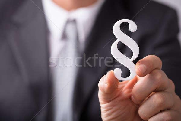 Homme d'affaires paragraphe symbole main Photo stock © AndreyPopov