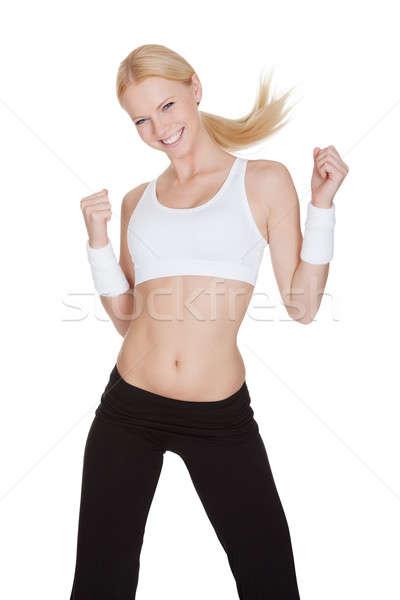 красивая женщина zumba фитнес изолированный белый Сток-фото © AndreyPopov