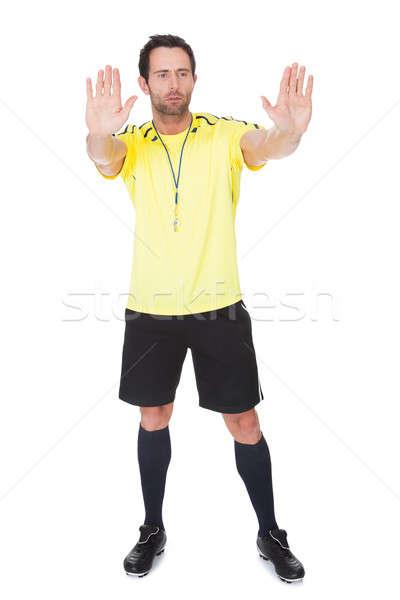 Soccer judge whistling Stock photo © AndreyPopov