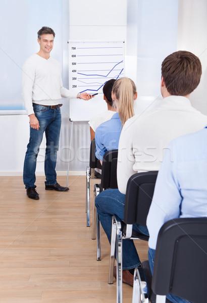 Wykładowca flipchart klasy mężczyzna schemat Zdjęcia stock © AndreyPopov
