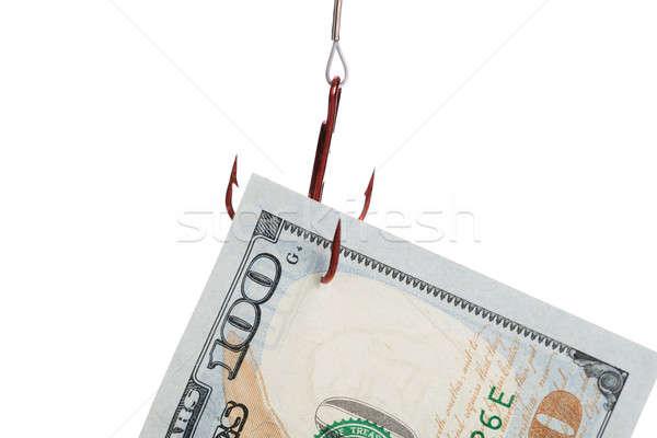 Sto Dolar ustawy uwięzione połowów hak Zdjęcia stock © AndreyPopov