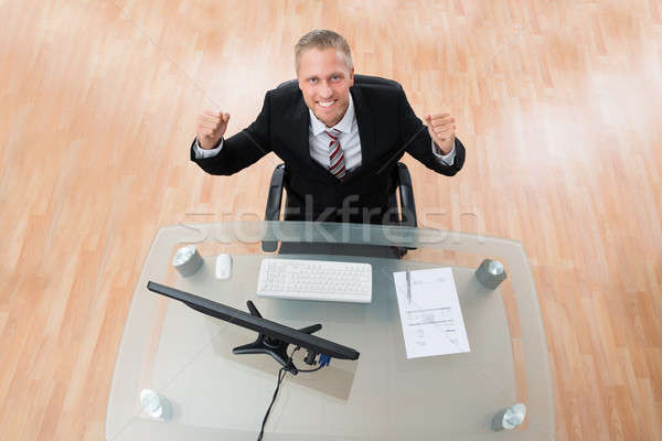 Happy Businessman Clenching His Fist Stock photo © AndreyPopov