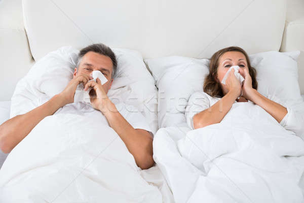 Stockfoto: Paar · lijden · koud · blazen · neus · slapen · bed