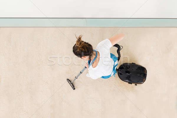 Foto stock: Jovem · feminino · piso · uniforme · mulher