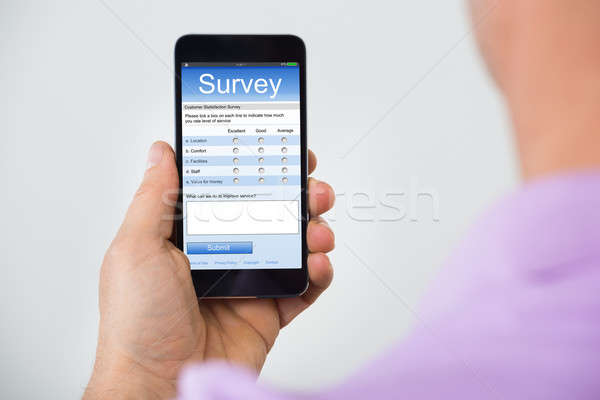 Person Hand Holding Smartphone Showing Survey Form Stock photo © AndreyPopov