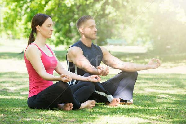 Couple Doing Yoga In Park Stock photo © AndreyPopov