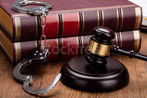 Foto stock: Lei · equipamento · secretária · gabela · algemas