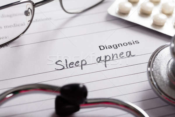 Diagnosis Sleep Apnea Word On Paper With Drugs And Stethoscope Stock photo © AndreyPopov