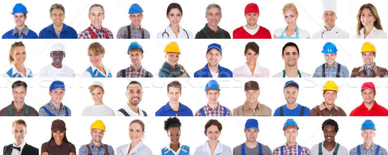 Stock photo: Group Of Workers On White Background