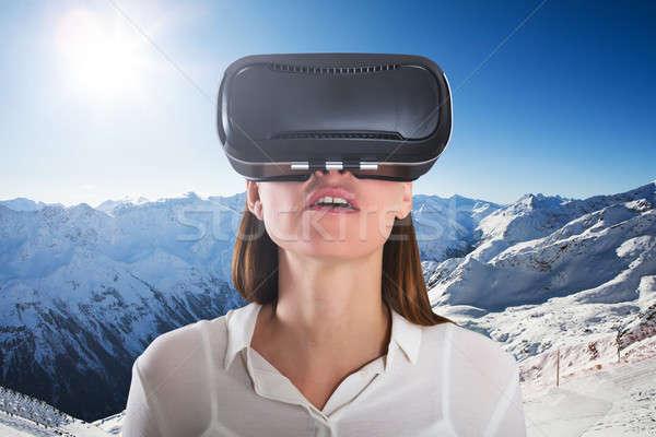 クローズアップ 女性 着用 バーチャル 現実 眼鏡 ストックフォト © AndreyPopov