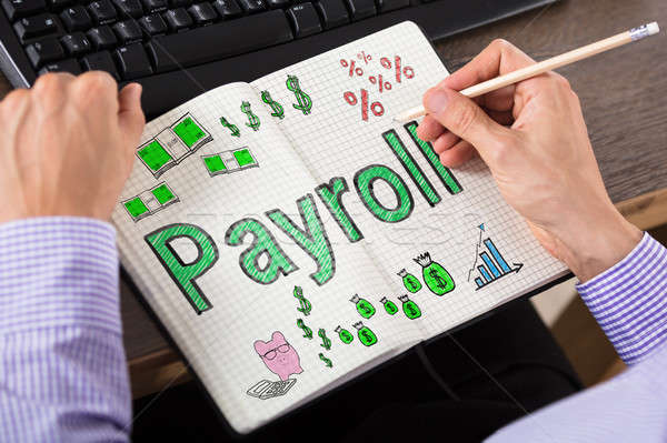 Person's Hand Writing Payroll In Book Stock photo © AndreyPopov